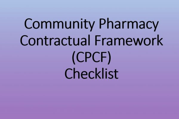 Community Pharmacy Contractual Framework (CPCF) Checklist